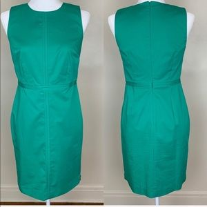 Ann Taylor Green Fitted Sleeveless Dress
